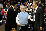 Jan 27, 2010; Cleveland, OH, USA; North Carolina basketball Coach Roy Williams talks with Minnesota Timberwolves head coach Kurt Rambis after the game against the Cleveland Cavaliers at Quicken Loans Arena. The Cavaliers beat the Timberwolves 109-95. Mandatory Credit: Jason Miller-US PRESSWIRE