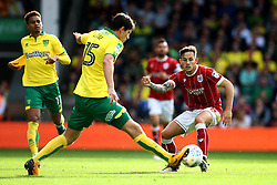 Josh Brownhill of Bristol City challenges Timm Klose of Norwich City - Mandatory by-line: Robbie Stephenson/JMP - 23/09/2017 - FOOTBALL - Carrow Road - Norwich, England - Norwich City v Bristol City - Sky Bet Championship