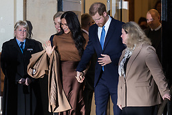 "London, UK. 7 January, 2020. The Duke and Duchess of Sussex leave Canada House in Trafalgar Square after visiting to thank the High Commissioner for the ""warm hospitality"" and support received by them during a six-week sabbatical in Canada over Thanksgiving and Christmas."