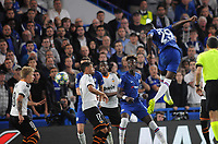 Football - 2019 / 2020 UEFA Champions League - Group H: Chelsea vs. Valencia CF<br /> <br /> Fikayo Tomori of Chelsea heads down onto the hand of Daniel Wass of Valencia for a penalty kick late on which Barkley missed at Stamford Bridge.<br /> <br /> COLORSPORT/ANDREW COWIE