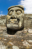An intimidating fanged head stands guard over the Copan ruins in Honduras.