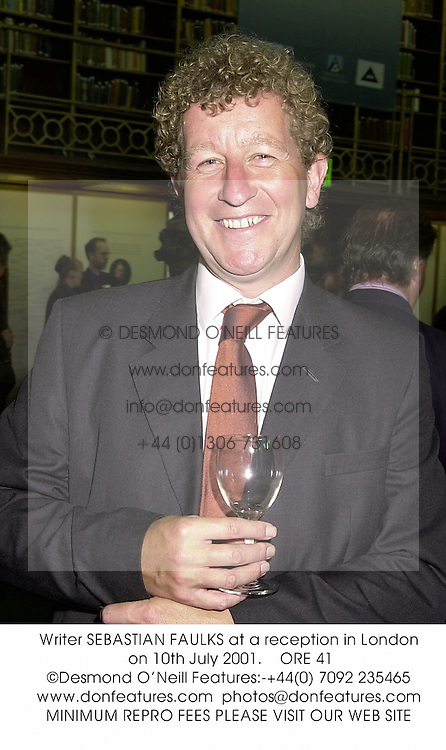 Writer SEBASTIAN FAULKS at a reception in London on 10th July 2001.<br />