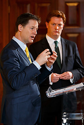 © Licensed to London News Pictures. 07/04/2015. LONDON, UK. Liberal Democrat leader Nick Clegg and Danny Alexander holding a press conference at National Liberal Club in London on Monday, 7 April 2015. Photo credit : Tolga Akmen/LNP