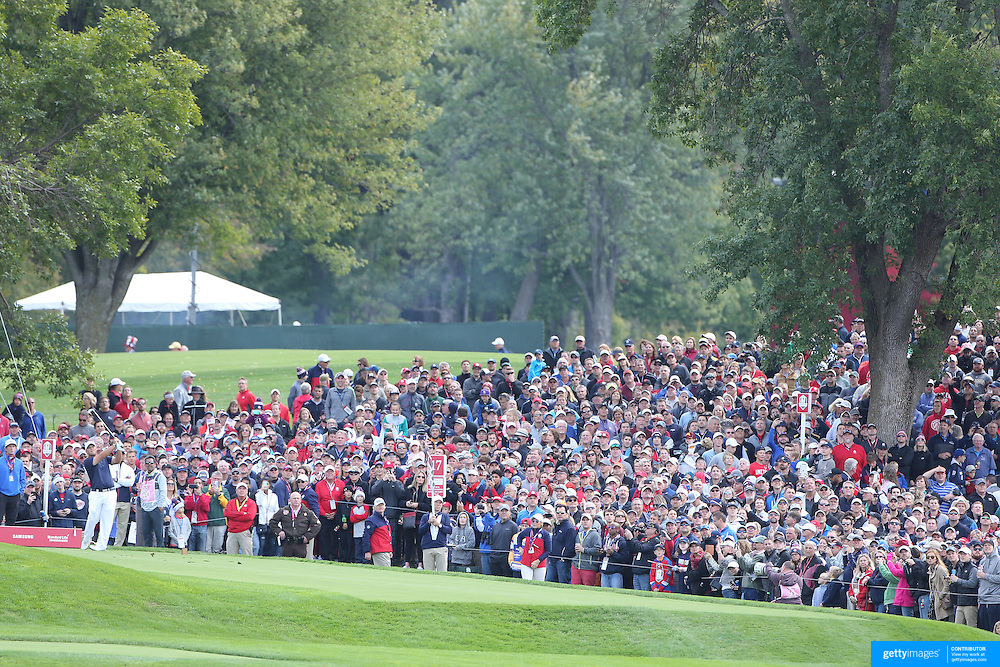 Ryder Cup 2016. Patrick Reed of the United States plays his tee shot on the 17th during practice day in front of massive crowds at the Hazeltine National Golf Club on September 28, 2016 in Chaska, Minnesota.  (Photo by Tim Clayton/Corbis via Getty Images)