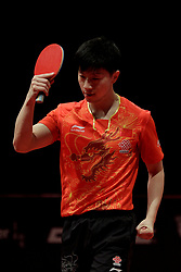 BREMEN, March 25, 2018  China's Ma Long reacts during the men's singles semifinal match against Chinese Hong Kong's Wong Chun Ting at the 2018 ITTF World Tour Platinum German Open in Bremen, Germany, on March 25, 2018. Ma Long won 4-2 and advanced to the final. (Credit Image: © Binh Truong/Xinhua via ZUMA Wire)