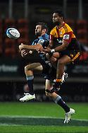 Jared Payne and Lelia Masaga compete for the ball. Investec Super Rugby - Chiefs v Blues, Waikato Stadium, Hamilton, New Zealand. Saturday 26 March 2011. Photo: Andrew Cornaga / photosport.co.nz