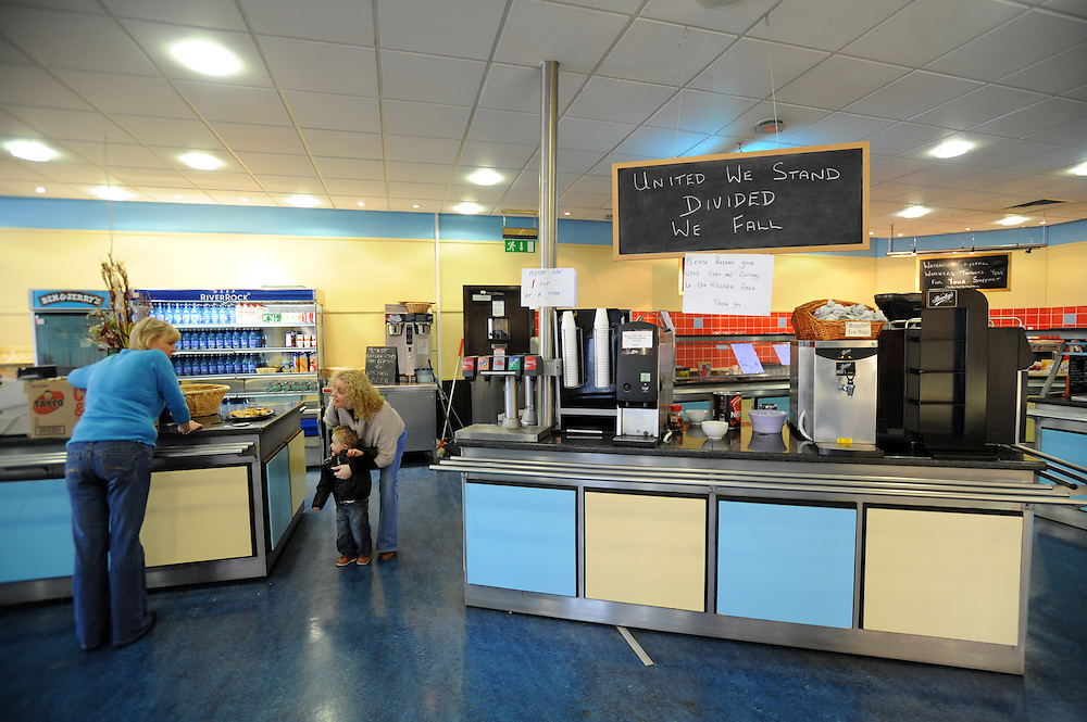 The waterford crystal visitors cafe which had been overtaken by workers in Waterford, Ireland. Workers have been occupying the factory in protest for two weeks since the company went into receivership. Production is to move to lower cost countries. Crystal manufacturing began in Waterford in 1783. 13/2/2009