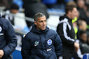 Chris Hughton during the Sky Bet Championship match between Cardiff City and Brighton and Hove Albion at the Cardiff City Stadium, Cardiff, Wales on 20 February 2016.