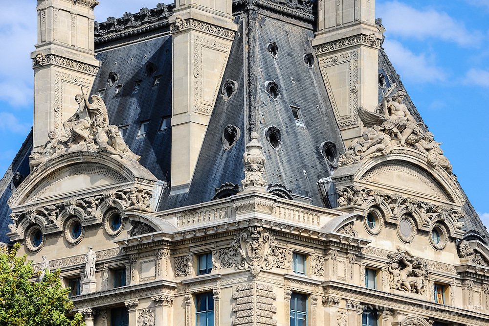 Paris, France. View from a boat on the river Seine. Pavillon de Flore, part of Louvre.