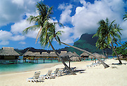 Bora Bora Lagoon Resort, Tahiti, with beach, palm trees and overwater bungalows on lagoon..