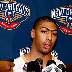 Aug 1, 2013; Metairie, LA, USA; New Orleans Pelicans forward Anthony Davis (23) addresses the media following a uniform unveiling at the team practice facility. Mandatory Credit: Derick E. Hingle-USA TODAY Sports