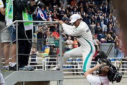 November 10, 2018 - Sao Paulo, Sao Paulo, Brazil - LEWIS HAMILTON celebrates the pole position to the Formula One GP Brazil 2018 at Interlagos circuit, in Sao Paulo, Brazil. The grand prix will be celebrated next Sunday, November 11. (Credit Image: © Paulo LopesZUMA Wire)