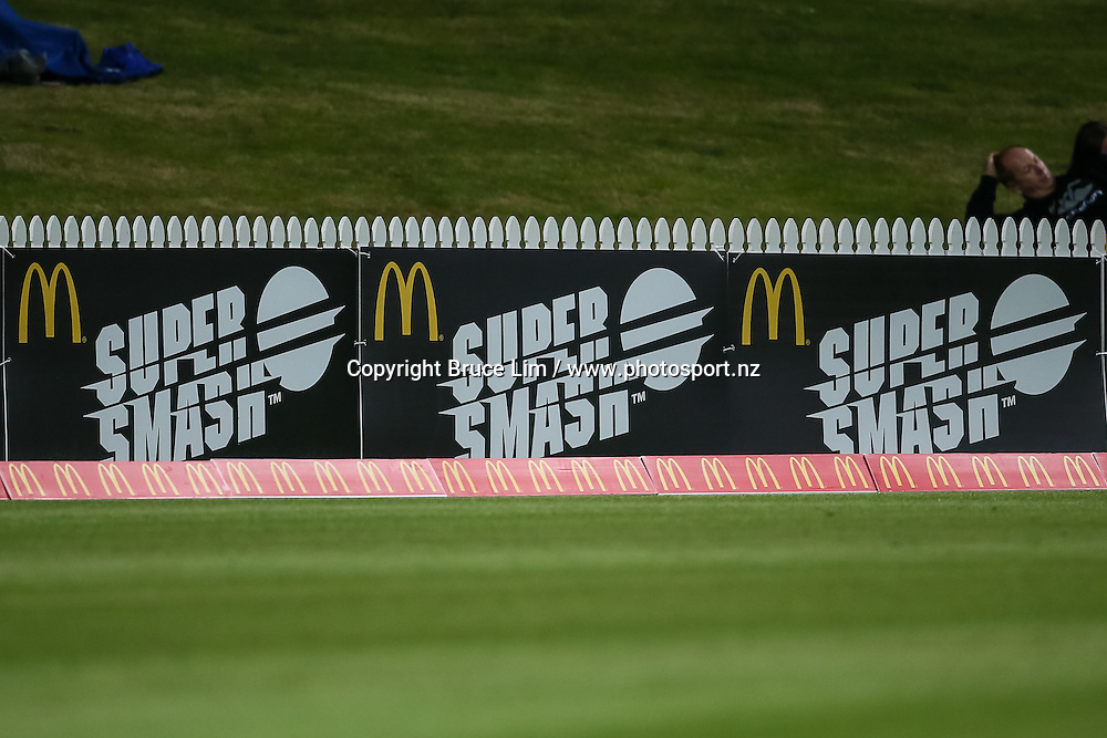 McDonalds Super Smash signage during the McDonalds Super Smash T20 cricket match - Knights v Aces played at Seddon Park, Hamilton, New Zealand on Saturday 17 December.<br /> <br /> Copyright photo: Bruce Lim / www.photosport.nz