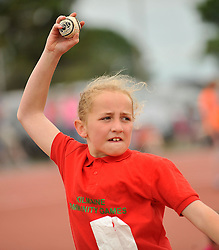 Aoife Murphy from Kilmaine pictured competiting in the girls Under 12 Ball Throw at the Mayo Commmunity Games finals in Claremorris.<br /> Pic Conor McKeown