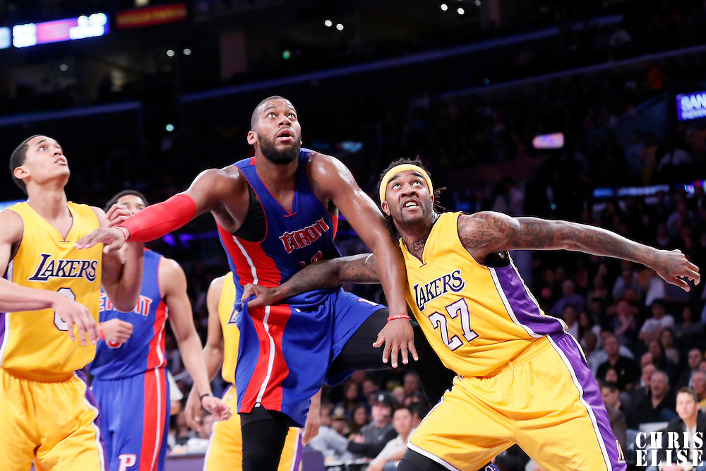 10 March 2015: Detroit Pistons forward Greg Monroe (10) vies for the rebound with Los Angeles Lakers center Jordan Hill (27) and Los Angeles Lakers guard Jordan Clarkson (6) during the Los Angeles Lakers 93-85 victory over the Detroit Pistons, at the Staples Center, Los Angeles, California, USA.