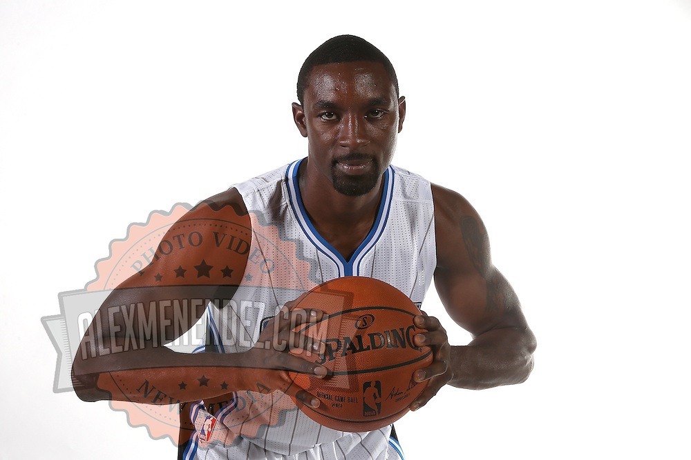 Orlando Magic guard Ben Gordon poses for the camera during the NBA Orlando Magic media day event at the Amway Center on Monday, September 29, 2014 in Orlando, Florida. (AP Photo/Alex Menendez)