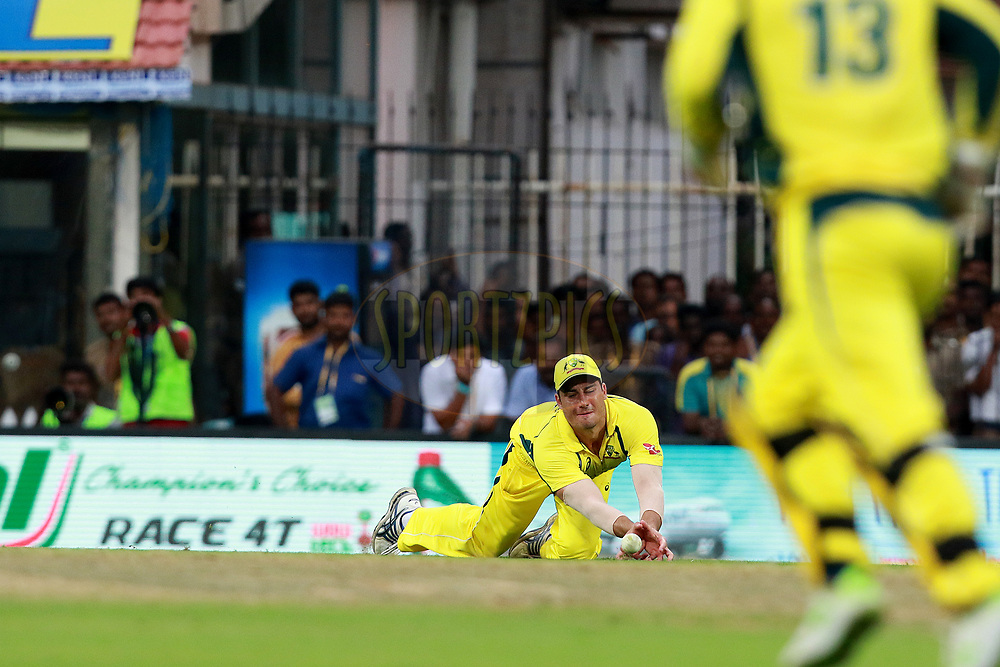 Marcus Stoinis of Australia drops catch during the 1st One Day International between India and Australia held at the M. A. Chidambaram Stadium in Chennai on the 17th September 2017<br /> <br /> Photo by Rahul Gulati / BCCI / SPORTZPICS