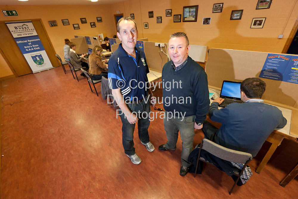 11/3/2012.John Buggy (right) and Eamon Holland of Erins Own GAA Club pictured at the fantasy Cheltenham operation at Erins Own GAA Club in Castlecomer Co.Kilkenny.Picture Dylan Vaughan.