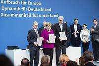 12 MAR 2018, BERLIN/GERMANY:<br /> Horst Seehofer (L), CSU, desig. Bundesinnenminister, Angela Merkel (M), CDU, Bundeskanzlerin, und Olaf Scholz (R), SPD, desig. Bundesfinanzminister, in der zweiten Reihe: Volker Kauder, CDU, CDU/CSU Fraktionsvorsitzender, Andrea Nahles, SPD Fraktionsvorsitzende, Alexander Dobrindt, Vorsitzender der CSU Landesgruppe, Lars Klingbeil, SPD Generalsekretaer, Annegret Kramp-Karrenbauer, CDU Generalsekretaerin, und Andreas Scheuer, CSU Generalsekretaer, nach der Unterzeichnung des Koalitionsvertrages der CDU/CSU und SPD, Paul-Loebe-Haus, Deutscher Bundestag<br /> IMAGE: 20180312-02-018