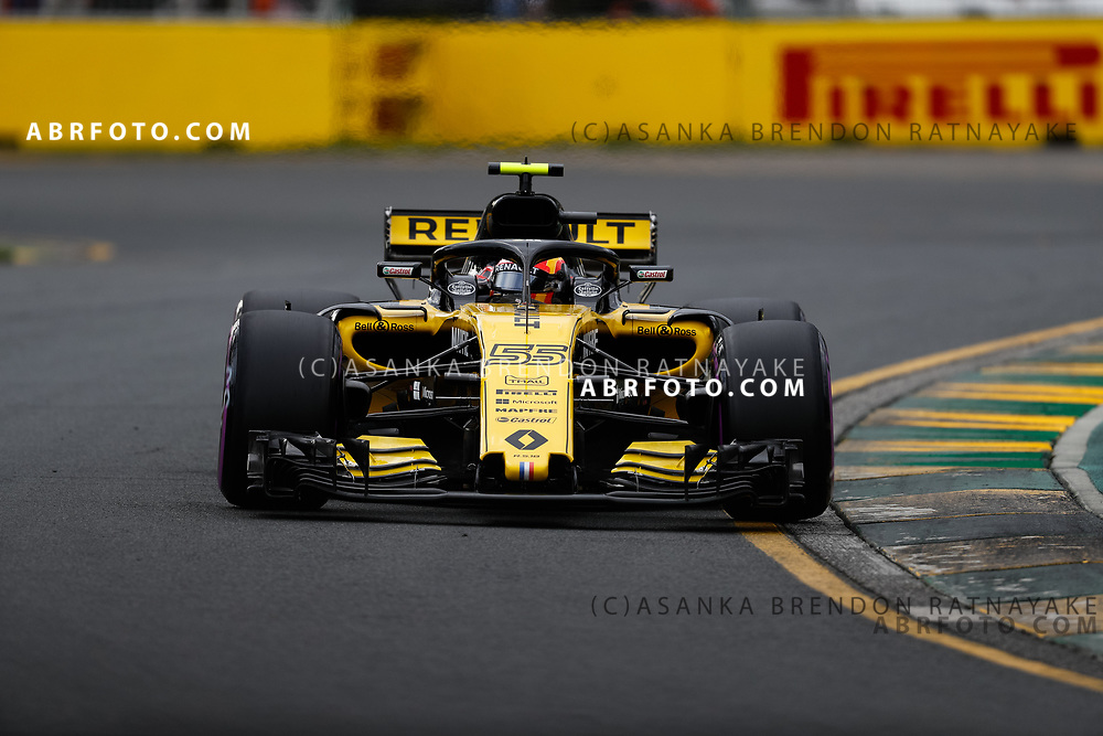 Renault driver Carlos Sainz of Spain on Saturday during Qualifying for the 2018 Rolex Formula 1 Australian Grand Prix at Albert Park, Melbourne, Australia, March 24, 2018.  Asanka Brendon Ratnayake