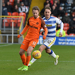 Billy King (Dundee United) and Michael Tidser (Morton) during the Scottish Championship match between Dundee United and Greenock Morton at Tannadice, which the visitors won.<br /> <br /> (c) Dave Johnston | sportPix.org.uk