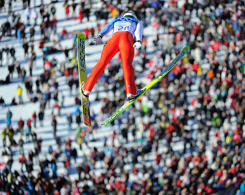 Russia's Pavel Karelin during the qualification round for the long hill individual ski jumping at Whistler Olympic Park on day 8 of the Vancouver 2010 Olympic Winter Games.