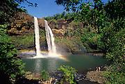 Hikers, Wailua Falls, Kauai, Hawaii<br />