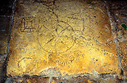 Game board etched in the stone at the monastery of Les Soeurs de Notre-Dame de Sion (Convent of the Sisters of Zion), Jerusalem, Israel