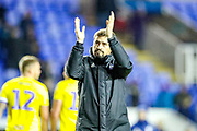 Birmingham City Manager Pep Clotet celebrates at full time during the EFL Sky Bet Championship match between Reading and Birmingham City at the Madejski Stadium, Reading, England on 7 December 2019.
