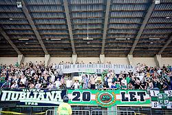 Fans of Olimpija Green Dragons celebrate at final match of 2nd SNL league between NK Olimpija in NK Aluminij, on May 23, 2009, ZAK, Ljubljana, Slovenia. Aluminij won 2:1. NK Olimpija is a Champion of 2nd SNL and thus qualified to 1st Slovenian football league for season 2009/2010. (Photo by Vid Ponikvar / Sportida)