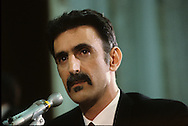 "Frank Zappa testifies at a senate hearing on ""Dirty Rock"" in September 1985...Photograph by Dennis Brack  bb26"