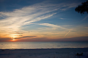 Idyllic shoreline and sandy beach at sunset on Anna Maria Island, Florida, United States of America