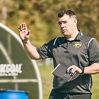 Women's Soccer Assistant Coach, Rob McCaffrey of the Regina Cougarsduring the Women's Soccer home game on Sun Sep 09 at U of R Field. Credit: Arthur Ward/Arthur Images