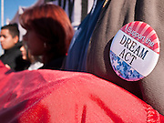 "07 DECEMBER 2010 - PHOENIX, AZ:  A student wears a button in support of the DREAM Act during a picket of US Sen. John McCain's office in Phoenix Tuesday. Dolores Huerta, who started working in the civil rights movement in the 1960's, threw her support behind students fasting on behalf of the DREAM Act in front of Sen. John McCain's office Tuesday. The student picked McCain's office because he used to support the DREAM Act. They hope that the US Senate will pass the DREAM Act during its ""lame duck"" session. The Senate debated and defeated similar legislation just before the November general election.     PHOTO BY JACK KURTZ"