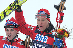 Second placed Johan Kjoelstad of Norway and Winner and the world champion Ola Vigen Hattestad of Norway,  at Men`s Sprint Free Finals Cross-country race at  FIS Nordic World Ski Championships Liberec 2008, on February 24, 2009, Vestec, Liberec, Czech Republic. (Photo by Vid Ponikvar / Sportida)