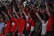 """Fans cheer at Ole Miss vs. TCU at the C.M. """"Tad"""" Smith Coliseum in Oxford, Miss. on Thursday, December 4, 2014. TCU won 66-54."""