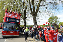 Fans look on during the Bristol City celebration tour as the bus leaves Ashton Gate - Photo mandatory by-line: Dougie Allward/JMP - Mobile: 07966 386802 - 04/05/2015 - SPORT - Football - Bristol -  - Bristol City Celebration Tour