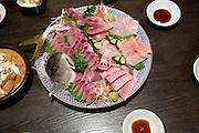 Traditional Japanese raw fish dish sashimi ikizukuri