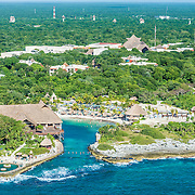 Aerial view of the Occidental Flamenco Xcaret hotel. Xcaret. Quintana Roo, Mexico.