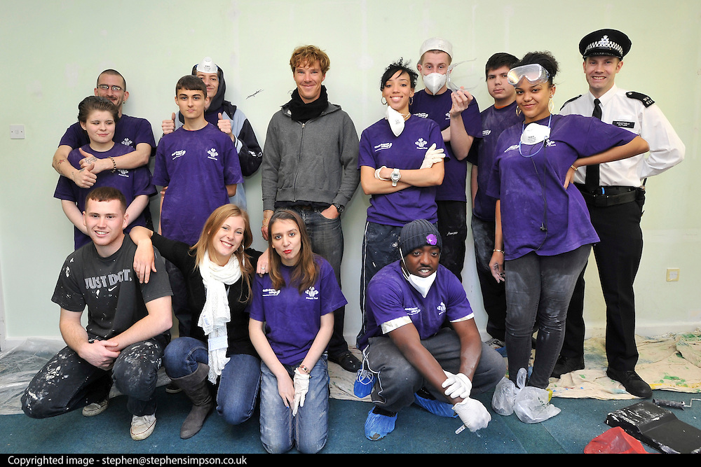 ©INS News Agency Ltd...  19/10/2010.Benedict Cumberbatch helps out with the Prince's Trust 'Make a Change Week' by helping decorate classrooms at Cricket Green School in Mitcham London.