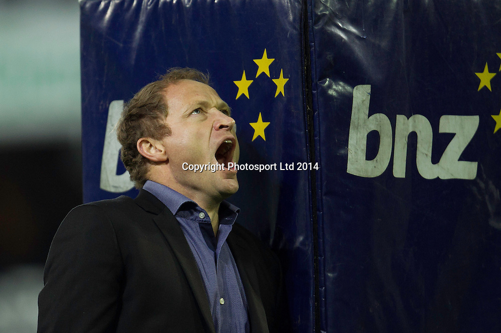 Assistant Coach Tony Brown of the Highlanders looks on before the Super Rugby game between The Chiefs and The Highlanders, Forsyth Barr Stadium, Dunedin. 27 June 2014. Photo: Teaukura Moetaua/www.photosport.co.nz