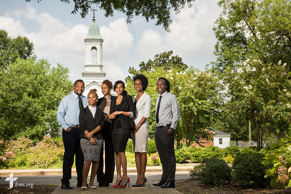 Honor students (L-R) Paxton Chatora, Bruktawit Shetta, Bersabhe Werecho, Kidest Seyoum, Yemsrach Heramo, and Mthokozisi Mlotshwa pose for a portrait in front of Christ Chapel at Concordia College Alabama on Wednesday, August 20, 2014, in Selma, Ala.  LCMS Communications/Erik M. Lunsford