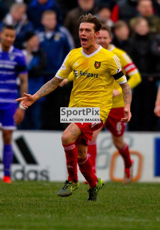 Albion Rovers v Dunfermline Athletic SPFL League One Season 2015/16 Cliftonhill 21 November 2015<br /> Josh Mullen celebrates his goal<br /> CRAIG BROWN | sportPix.org.uk