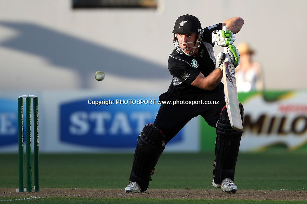 Gareth Hopkins batting.<br />
