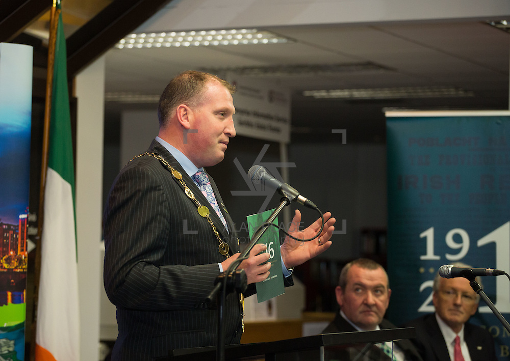 08/12/2015                <br /> Limerick City &amp; County Council launches Ireland 2016 Centenary Programme<br /> <br /> An extensive programme of events across the seven programme strands of the Ireland 2016 Centenary Programme was launched at the Granary Library, Michael Street, Limerick, last night (Monday, 7 December 2015) by Cllr. Liam Galvin, Mayor of the City and County of Limerick.<br /> <br /> Led by Limerick City &amp; County Council and under the guidance of the local 1916 Co-ordinator, the programme is the outcome of consultations with interested local groups, organisations and individuals who were invited to participate in the planning and implementation of events and initiatives during 2016.  <br /> <br /> Pictured at the event was Mayor of Limerick, Cllr. Liam Galvin. Picture: Alan Place