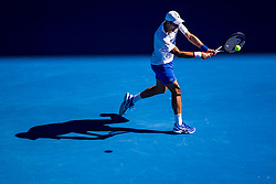 January 19, 2019 - Melbourne, VIC, U.S. - MELBOURNE, AUSTRALIA - JANUARY 19 : Novak Djokovic of ÊSerbia returns the ball during day 6 of the Australian Open on January 19 2019, at Melbourne Park in Melbourne, Australia.(Photo by Jason Heidrich/Icon Sportswire) (Credit Image: © Jason Heidrich/Icon SMI via ZUMA Press)