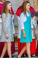 1-4-2018 PALMA DE MALLORCA . PALMA DE MALLORCA -, Queen Sofia,  King Juan Carlos King Felipe, queen  Letizia, Princess Leonor, Princess Sofia attend the eastern mass at the cathedral in Palma de Mallorca, 1 April 2018 . COPYRIGHT ROBIN UTRECHT<br /> eastern mass mis pasen paas spaanse spain spanje palma de mallorca princess prinses leonor sofia king koning juan carlos koningin queen sofia princess prinses letizia elena prince prins felipe ROBIN UTRECHT