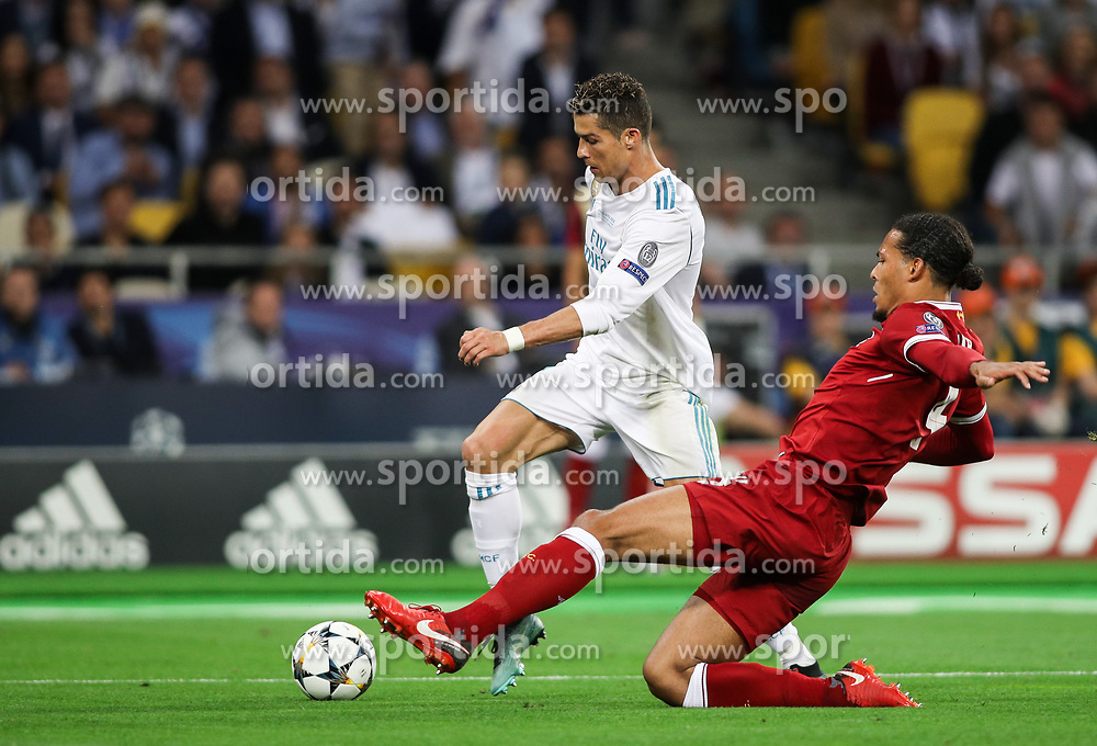 Cristiano Ronaldo of Real Madrid vs Virgil Van Dijk of Liverpool during the UEFA Champions League final football match between Liverpool and Real Madrid at the Olympic Stadium in Kiev, Ukraine on May 26, 2018. Photo by Andriy Yurchak / Sportida