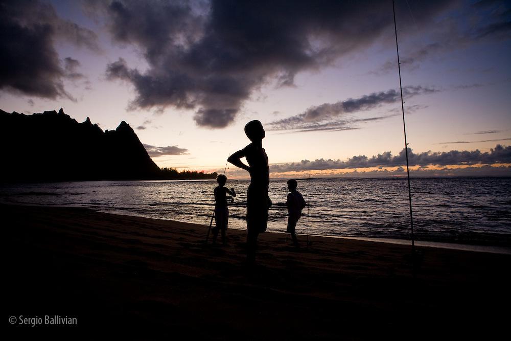 Sunset on the coastline of the island of Kauai, Hawaii