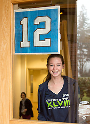 Kellie Watson '16, Seahawks Blue Friday at PLU on Friday, Jan. 30, 2015. (Photo/John Froschauer)